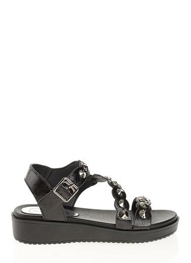 D by Divarese Taşlı Sandalet Siyah